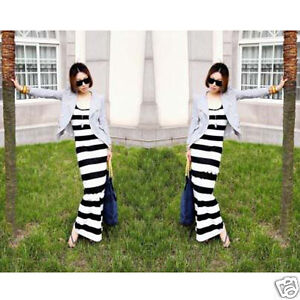 Black  White Striped Maxi Dress on Long Maxi Crew Neck Black White Stripe Womens Beach Summer Dress