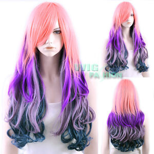 long pink purple dark blue multi color fashion hair wig ebay