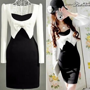 Black Long Sleeve Dress on Long Sleeve Black White One Piece Bowtie Slim Dress Dresses Tops