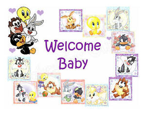Looney tunes edible cake image cake topper baby shower ebay for Baby looney tune decoration