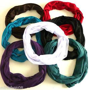 Loop-Schal-Schlauchschal-Rundschal-Tuch-Uni-Baumwolle-hm-14-Farben