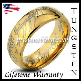 Lord of the Elvish Rings 14k Gold Plated Tungsten Carbide ONE Ring Mens Jewelry in Jewelry & Watches, Men's Jewelry, Rings | eBay