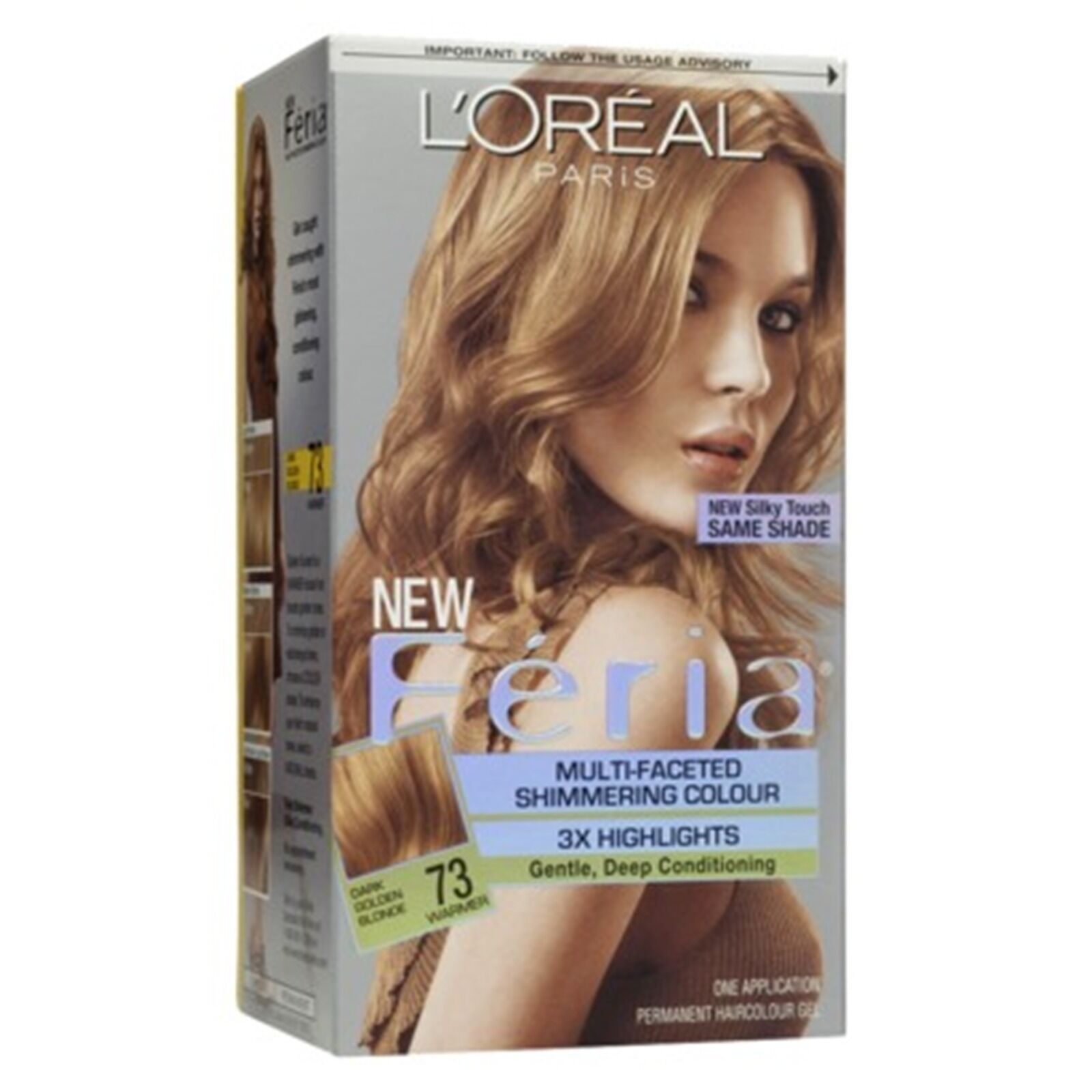 Details about Loreal Feria Hair Color 3X, 73 Dark Golden Blonde - Kit
