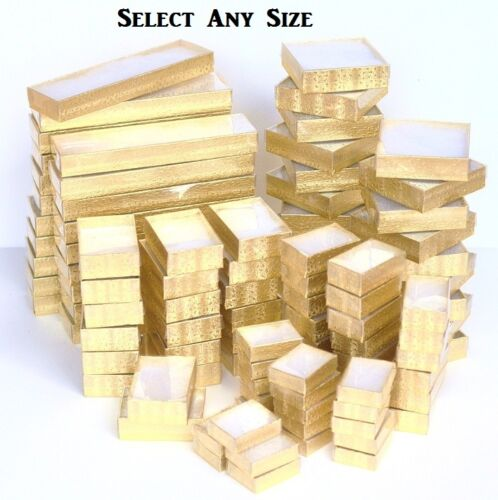 Lot 100 Gold Cotton Filled W Clear View Lid Jewelry Gift Boxes All