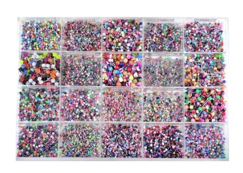 Lot 105PCS Body Jewelry Piercing Eyebrow Navel Belly Tongue Lip Bar Ring 21Style