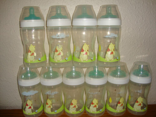 Lot of 10 Soothie bottles by The First Years Pooh designs 9 oz level 2 nipples in Baby, Feeding, Baby Bottles | eBay