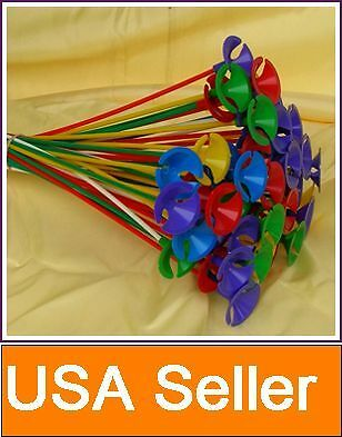 Lot of 100 Pcs Green Red Yellow Blue Pink Balloon Sticks with Multicolor Cups in Home & Garden, Holidays, Cards & Party Supply, Party Supplies   eBay
