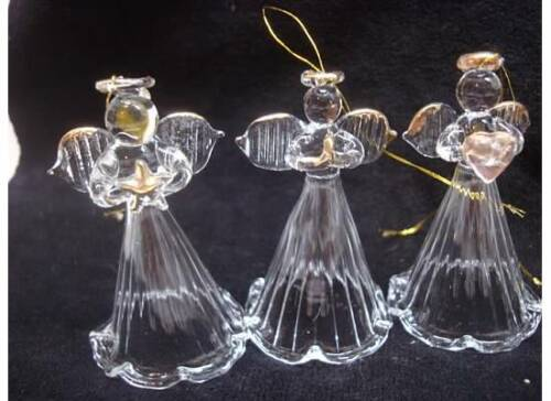 Lot of 12 Art GLASS ANGEL Religious Christmas Ornament Heart Gold Star Figurine in Collectibles, Holiday & Seasonal, Christmas: Current (1991-Now)   eBay