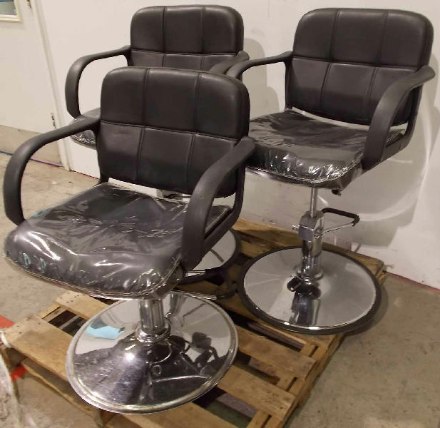 Lot of 3 Tispro Salon Tattoo Barber Hydraulic Chairs Black