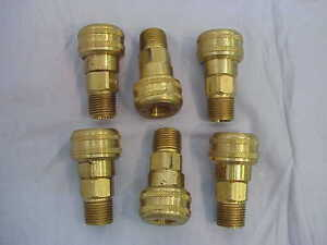 Lot-of-6-NEW-Parker-B34F-Pneumatic-3-8-Brass-Quick-Coupler-Male-NPTF