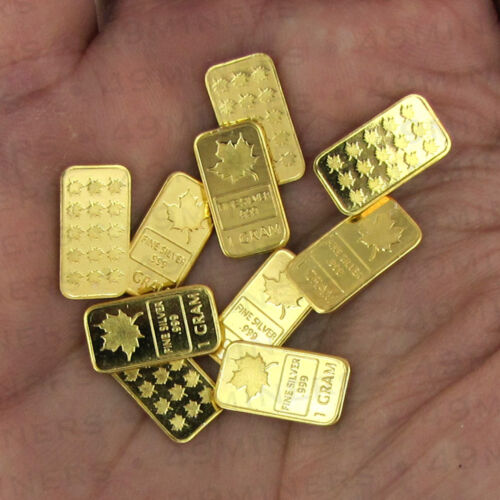 1 Gram Silver Bullion Bar Dipped In 24k Gold Canada Maple