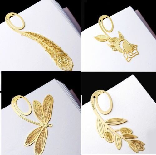 Lots 4 pcs 18K Gold Butterfly Flower Rose Feather Bookmark Book Marks Gift Set in Books, Accessories, Bookmarks | eBay