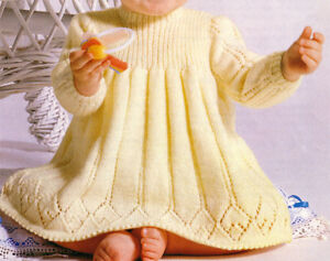 Lovely 4 Ply Baby Girls Knitted Dress- Knitting Pattern- Fits 18-20
