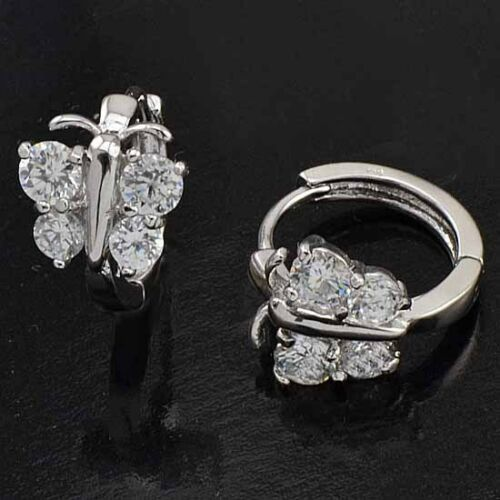 -Lovely-9K Real White Gold Filled CZ Butterfly Girls Earrings,M128 in Jewelry & Watches, Children's Jewelry, Earrings | eBay