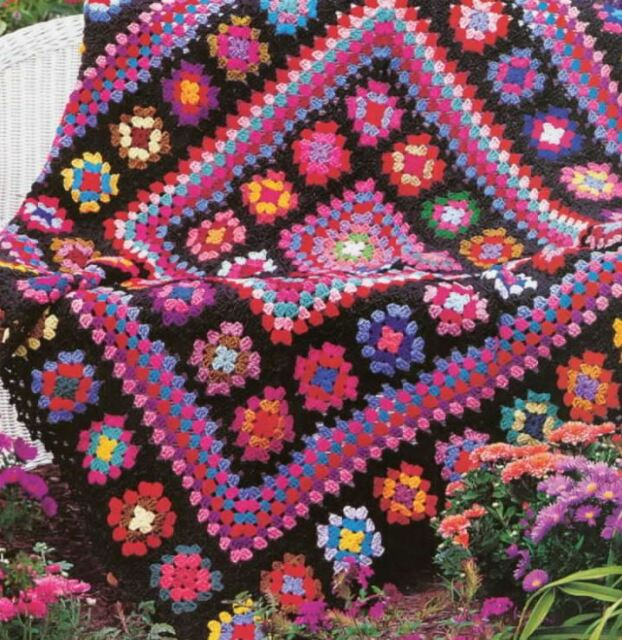Crochet Patterns Afghan Blanket : Crochet Pattern Afghan Throw Blanket Vintage Granny Square Masterpiece ...