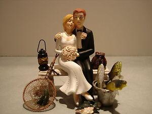 Loving Funny Fish Fishing Wedding Cake Topper Bench Lantern Basket Pail Pole