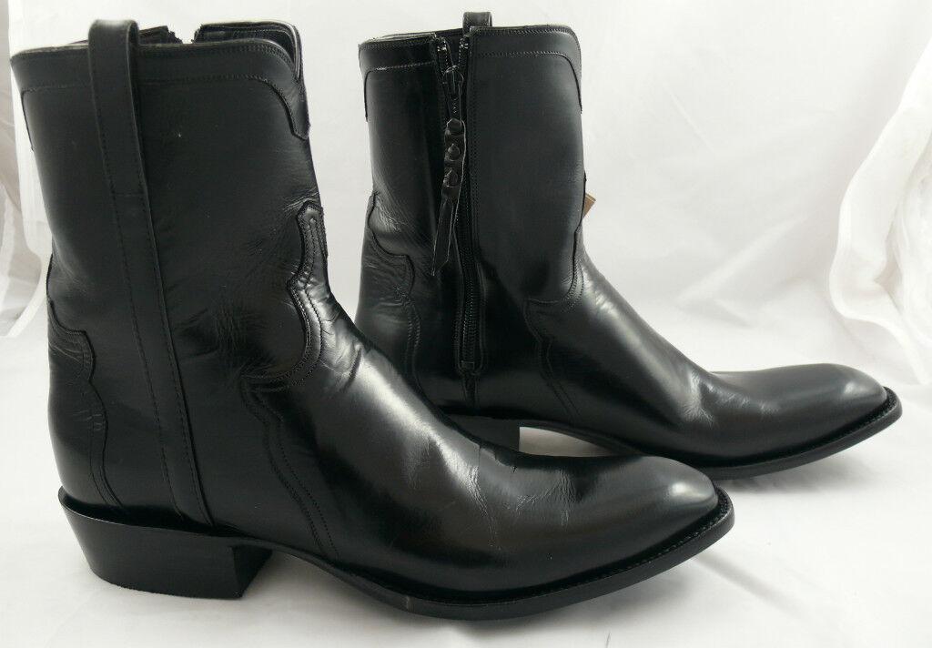 37e29b34d13 Lucchese Cowboy Boots Black Calf Pony Matador 13E Zip on PopScreen