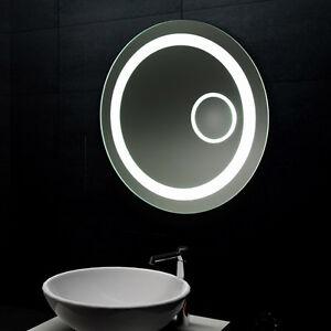 Lux aqua design lichtspiegel led beleuchtung mit schminkspiegel rund mf6604l ebay - Led spiegel rund ...