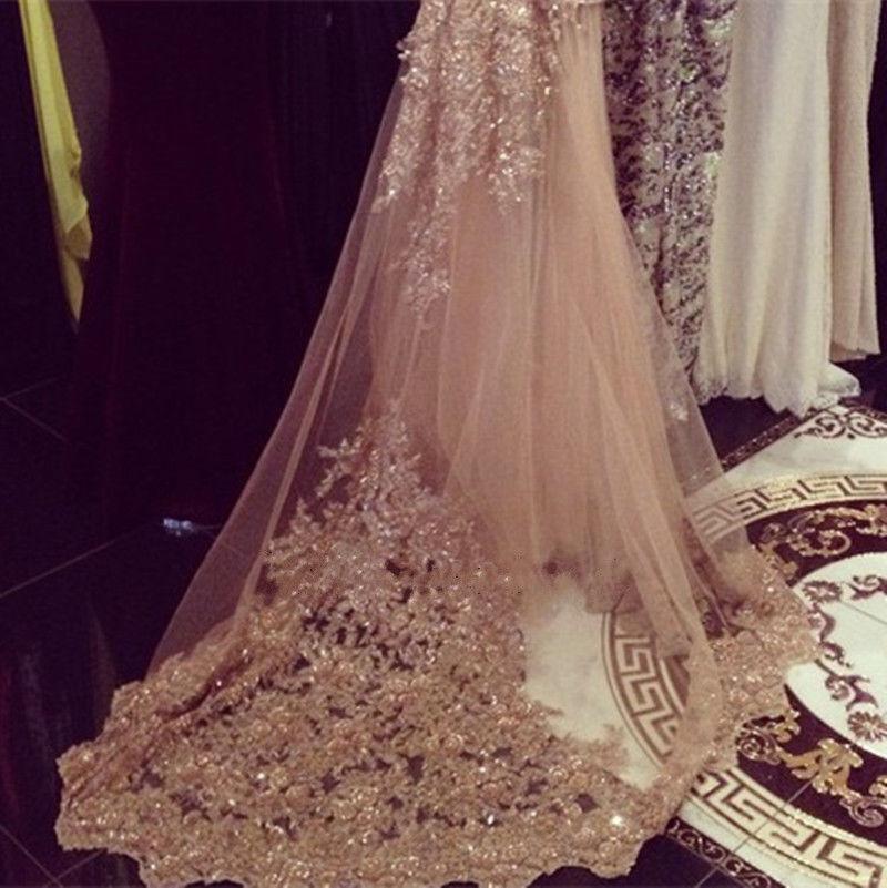 champagne rhinestones chapel wedding veils appliques 3m bridal veil