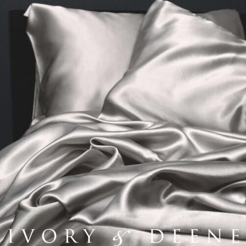 Luxury SILVER Silk Satin QUEEN Sz Bed Sheet Set NEW Quality Hotel Bedding Linen in Home & Garden, Bedding, Sheets & Pillowcases | eBay