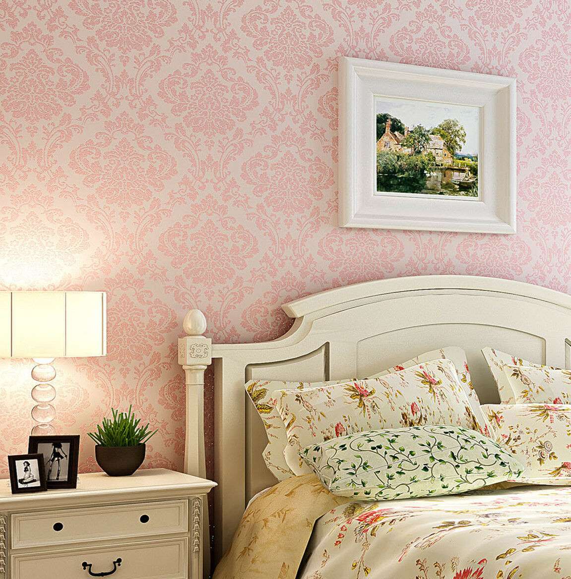 Vintage Bedroom: Luxury Victorian Vintage Light Pink Damask Nonwoven