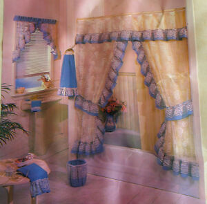 ... Shabby Princess Rose Sheer Lace double swag Shower Curtain Sets | eBay