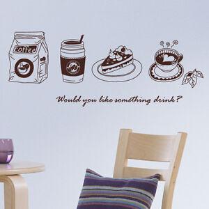 M18 TEA TIME KITCHEN CAFE COFFEE DECOR WALL STICKER DIY VINYL DECALS