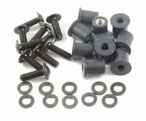m6 motorrad verkleidungsschrauben neopren muttern 6 mm schrauben set schwarz ebay. Black Bedroom Furniture Sets. Home Design Ideas