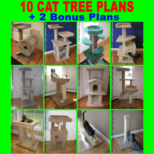 MAKE A CONDO TOWER Do-It-Yourself 10 CAT TREE PLANS DIY +2 BONUS scratching post in Pet Supplies, Cat Supplies, Furniture & Scratchers | eBay
