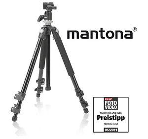 MANTONA-SCOUT-STATIV-FOTOSTATIV-DREIBEINSTATIV-KUGELKOPF-WECHSELPLATTE-NEU