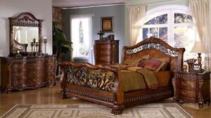 details about marble top bedroom furniture queen king sleigh bed set