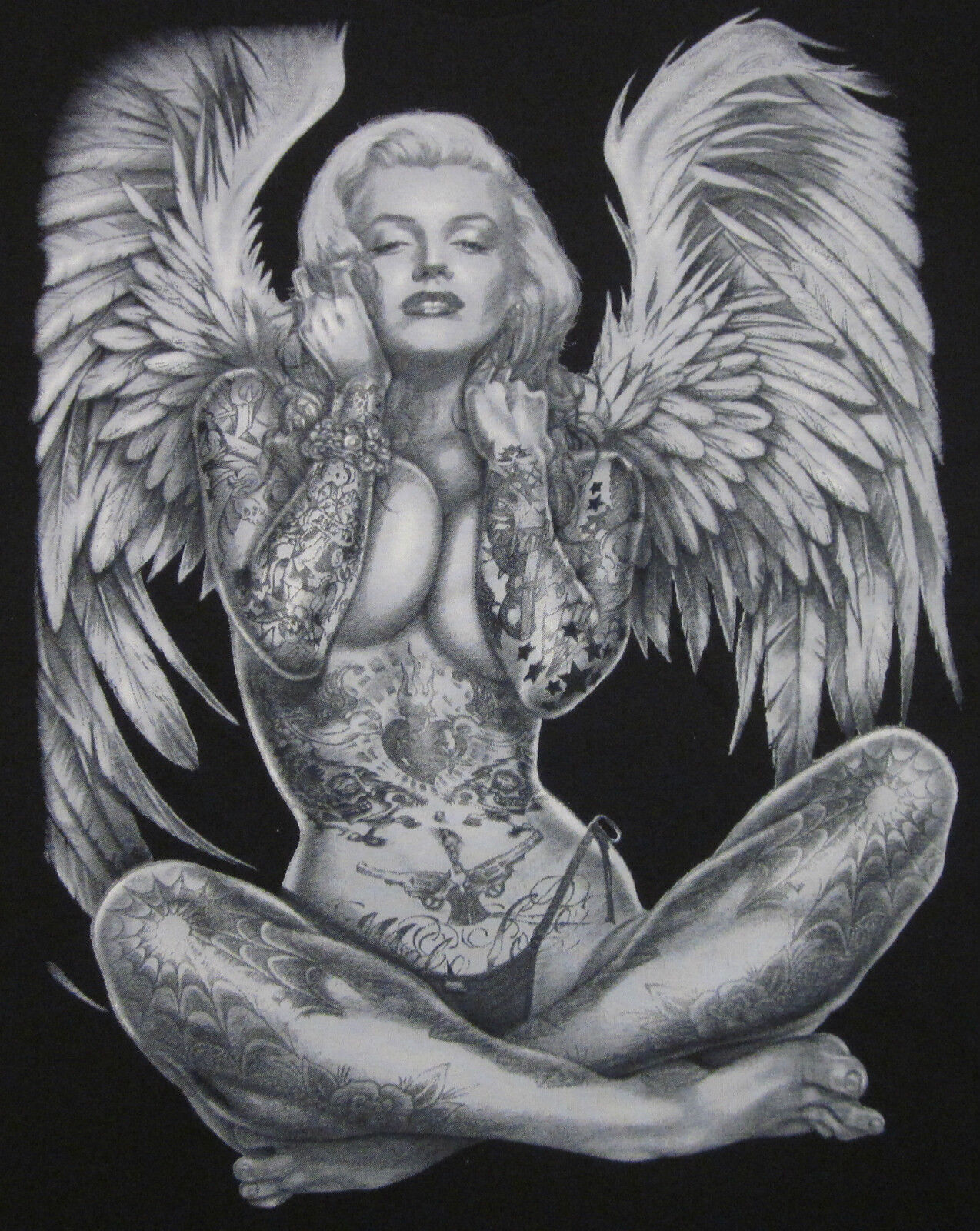 Marilyn Monroe Angel Wings Tattoo Shirts Up To 4XL Made In USA Heavy Cotton EBay