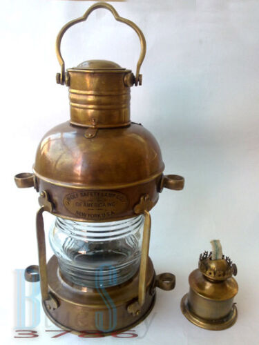 "MARINE BRASS NAUTICAL SHIP LANTEN, SHIP LAMP/ LANTERN, 14"" SAFETY LAMP in Antiques, Maritime, Lamps & Lighting 