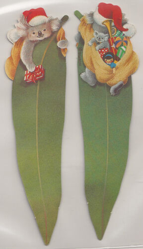 "MAY GIBBS 2 Gumnut LEAF CHRISTMAS BOOKMARKS, doubled sided.""SO CUTE"" in Books, Magazines, Accessories, Gift Books, Bookmarks 