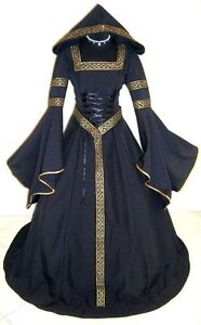 MEDIEVAL-WEDDING-DRESS-VICTORIAN-GOTH-WITCH-S-M-10-12-14-VAMPIRE-WICCA-LARP-ROBE