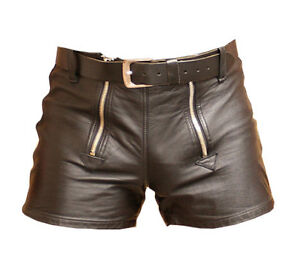 mens 100 genuine leather shorts with zipper ebay