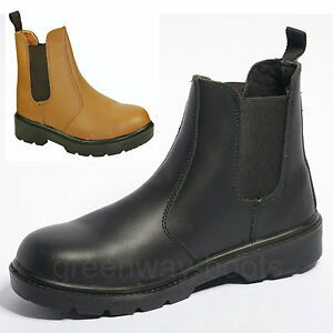 mens leather safety work boots shoes steel toe cap slip on