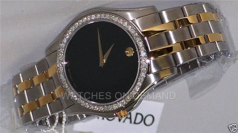 MEN'S MOVADO CORPORATE EXCLUSIVE 0605975 0.75ct DIAMOND 2 TONE BLK DIAL Watch