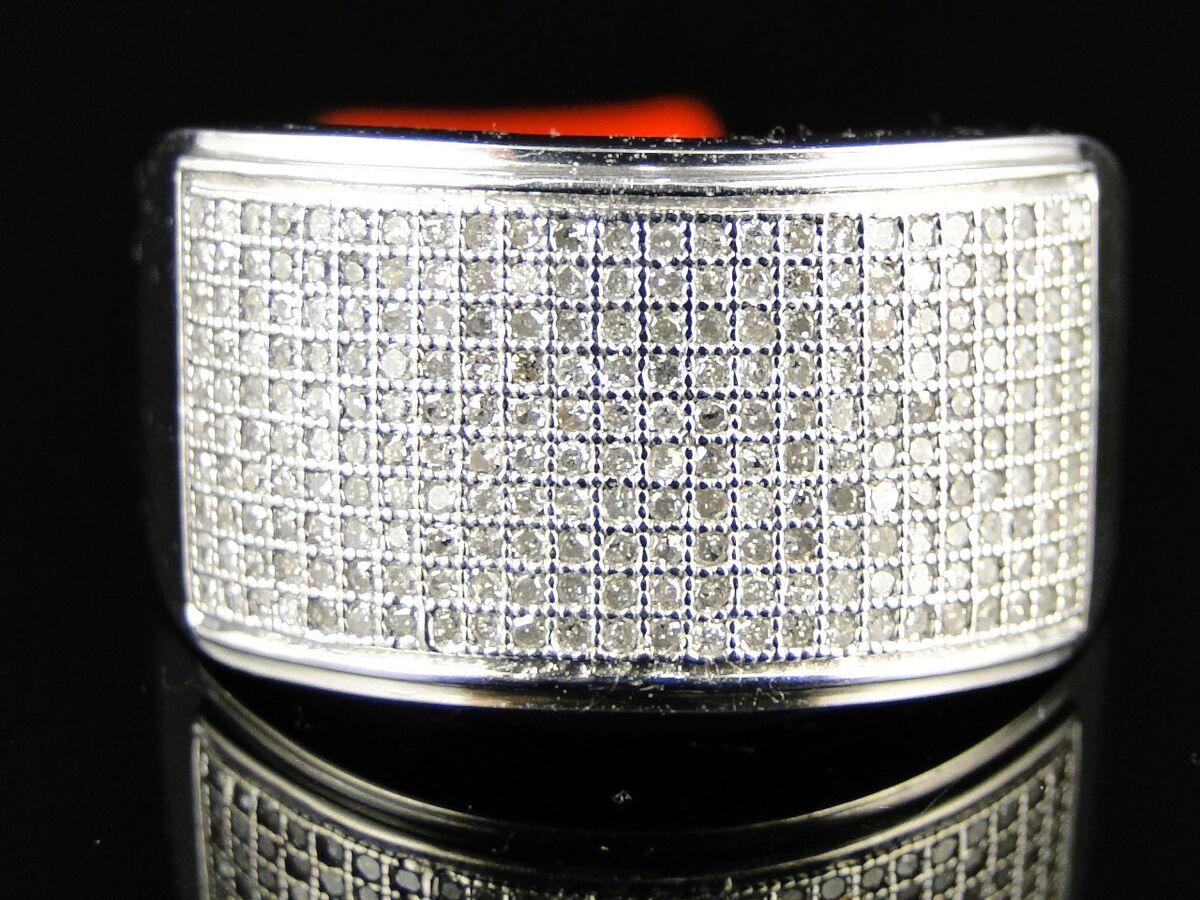 MENS WHITE GOLD FINISH ROUND CUT WHITE DIAMOND PAVE WEDDING BAND RING