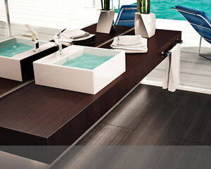 Mensola per lavabo d 39 appoggio piano in legno in 50 colori - Piano in legno per bagno ...