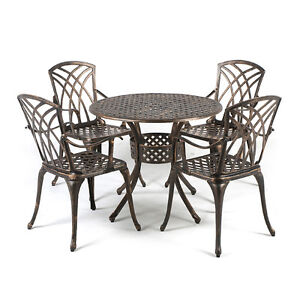 METAL CAST ALUMINIUM 5 PIECE GARDEN FURNITURE PATIO SET WITH CUSHIONS EBay
