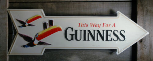 METAL LARGE GUINNESS BEER WITH TOUCANS ARROW TIN SIGN BAR BEER MAN CAVE SIGNS in Collectibles, Breweriana, Beer, Signs, Tins | eBay