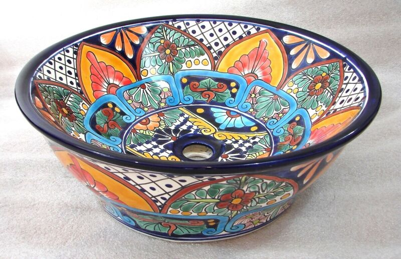 MEXICAN TALAVERA CERAMIC BATHROOM SINK vessel top counter COLORED SINK ...