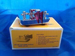 MFJ-564-Deluxe-Iambic-Paddle-Morsetaste-chrom-neu-CW-Telegrafie-squeeze-Taste