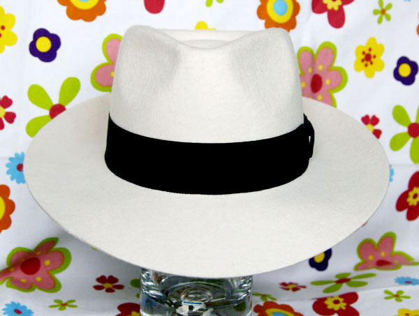 MICHAEL JACKSON MJ White Fedora Wool Hat Cap Costume