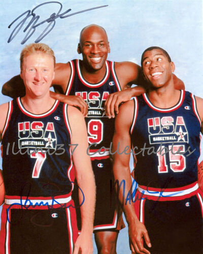 MICHAEL JORDAN LARRY BIRD MAGIC JOHNSON OLYMPIC SIGNED AUTOGRAPHED 8X10 PHOTO RP in Sports Mem, Cards & Fan Shop, Autographs-Reprints | eBay
