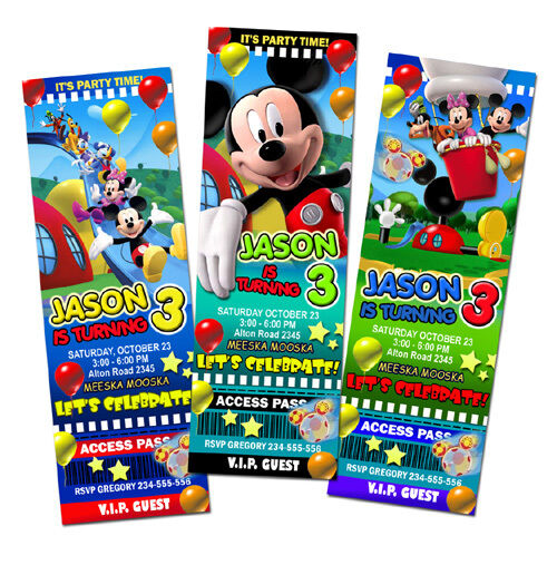 MICKEY MOUSE CLUBHOUSE DISNEY BIRTHDAY PARTY INVITATION TICKET BABY
