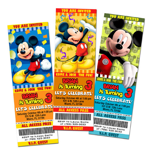 Mickey Mouse Disney Birthday Party Invitation Ticket Custom First 1st