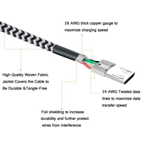 2x1m micro usb kabel ladekabel datenkabel handy tablet. Black Bedroom Furniture Sets. Home Design Ideas