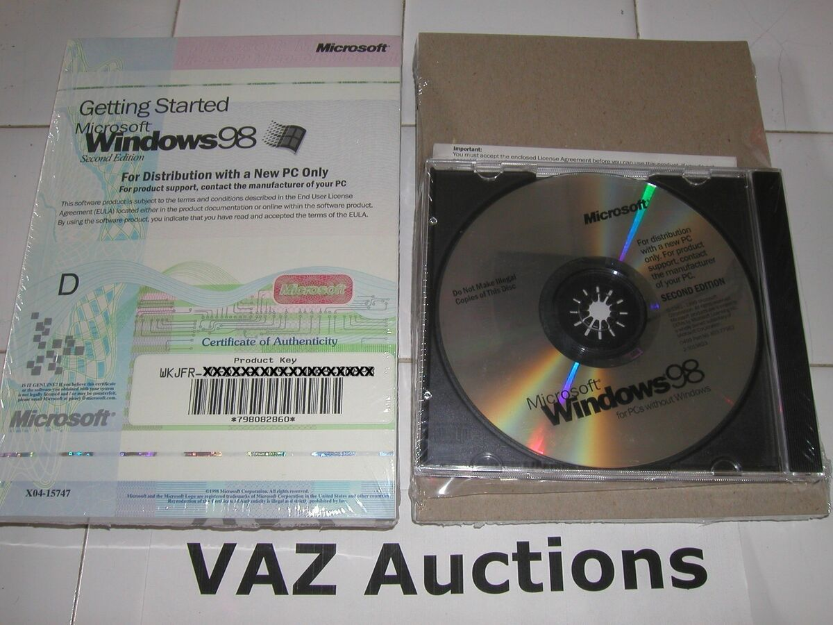 Microsoft Windows 98 Second Edition Full Operating System